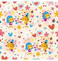boy and girl in love seamless pattern vector image