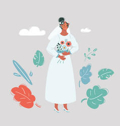 bride character on white background vector image