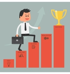 Businessman climbing ladder to success Motivation vector image