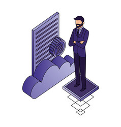 businessman with cloud computing and set icons vector image