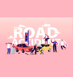 Car accident on road concept driver characters vector