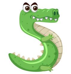 Cartoon green crocodile number five vector