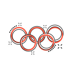 Cartoon olympic games rings icon in comic style vector