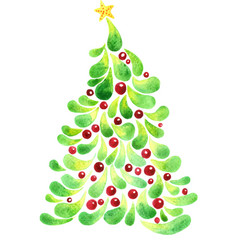 christmas tree with red ball and star watercolor vector image