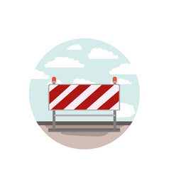 circular scene city landscape and traffic barrier vector image