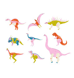 collection of colorful dinosaurs pterodactyl vector image