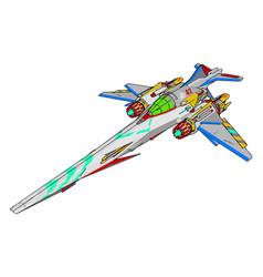 colorful fantasy battle cruiser on white vector image