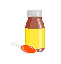 Cough syrup in bottle and spoon with poured doze vector
