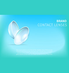 couple of contact eye lenses on blue background vector image