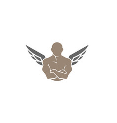 creative gym and fitness bodybuilder body wing vector image