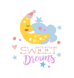 Cute cartoon sleeping crescent and cloud sweet vector