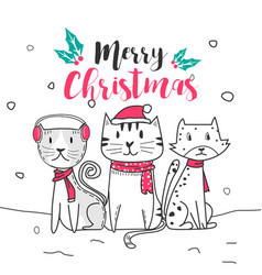cute cat and merry christmas with doodle cartoon vector image