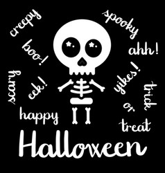 cute kawaii skeleton halloween handwriting vector image