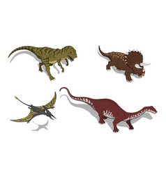 dinosaurs in isometric style isolated vector image