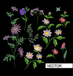 embroidery flowers vector image