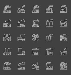 Factory buildings icons vector
