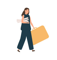 Female architect or designer walking with big case vector