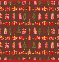 festive christmas tree gift boxes vector image