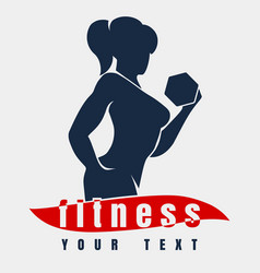 fitness logo with training woman vector image
