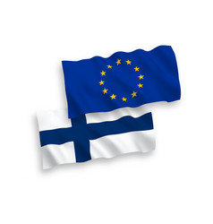 flags european union and finland on a white vector image