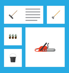 Flat icon garden set of pail hacksaw flowerpot vector