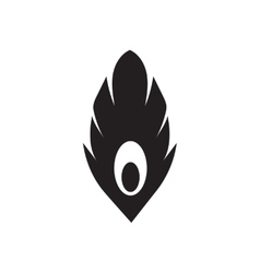 Flat icon in black and white feather vector