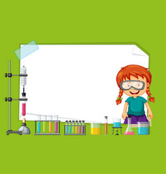 Frame design with girl doing experiment vector