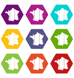 France icon set color hexahedron vector