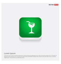 glass of juice icon green web button vector image