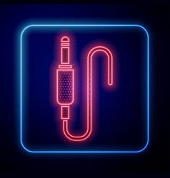 Glowing neon audio jack icon isolated on blue vector