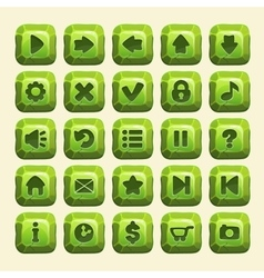Green stone square buttons vector