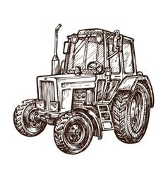 Hand drawn farm tractor sketch vector