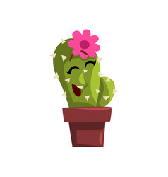 Happy cactus character in a clay pot with flower vector