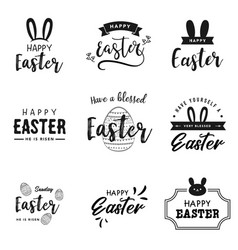 happy easter lettering logo collection vector image
