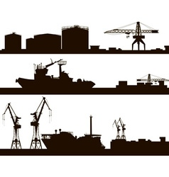 Harbour Skyline Silhouette Set vector image