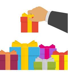 human hand and gift box vector image