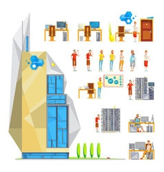 IT Office Constructor Set vector