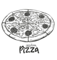 Italian pizza pizza design template logo hand vector