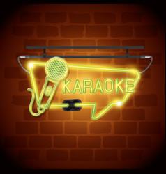 Karaoke bar neon label vector