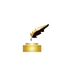 Lawyer law firm logo design feather quill symbol vector
