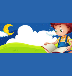 little boy reading book at night vector image