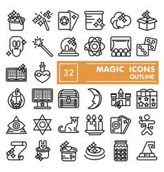 magic line icon set fantasy symbols collection vector image
