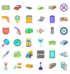 Mechanic auto icons set cartoon style vector