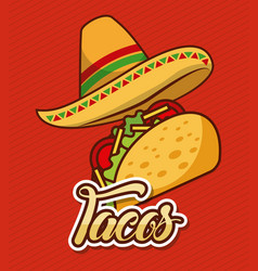 Mexican hat and taco fast food traditional vector