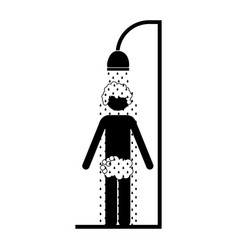 Monochrome pictogram of the man in the shower vector