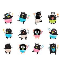 Monster kid character bundle doodle black monsters vector