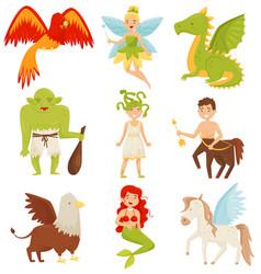 Mythical fairy tale creatures set centaur vector