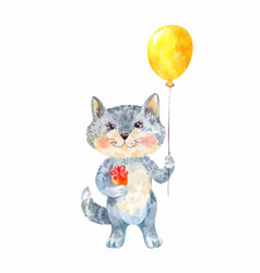 Naive childrens drawing of a cat with a gift and vector