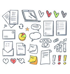 office paper and hearts isolated icons set vector image