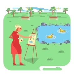 Old woman painting on canvas vector
